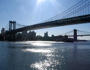 Sun Sparkles on E. River between 2 Bridges